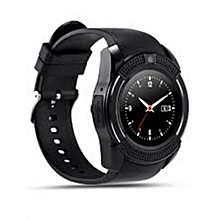 "V8 1.22"" Round Screen MTK6261 IP65 Android Bluetooth Smart Watch With Sim card Toolkit - Black"
