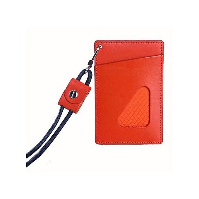 f0801d092110 Store Men Women Leather Credit Card Holder Case Bus Card Holder Wallet  OR-Orange