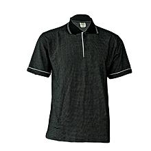 Polo Shirt Bubble Material- Black/White- L