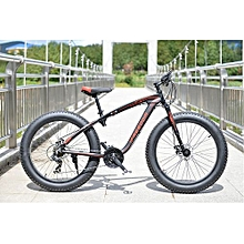 "26"" 21 Speed Black Red Fat Tire Mountain Bike"