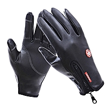 Mens Motorcycle Cycling Windproof Warm PU Leather Gloves Full Finger Waterproof Touch Screen Gloves