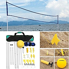 Pro Beach Volleyball Net System Portable Adjustable Posts Ball Hand Pump Set Kit