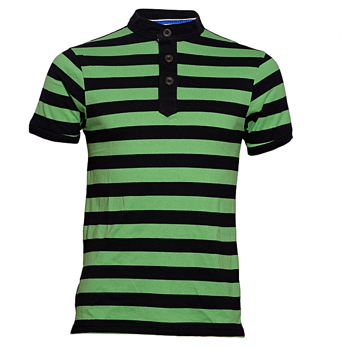 7a110aa663 Zecchino Green and Black Striped Mens Pure Cotton T-Shirt @ Best ...