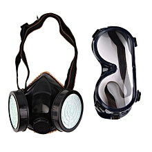 Protection Filter Double Gas Mask Chemical Gas Respirator Face Mask Goggles-Black