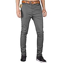 Soft Khaki Trouser Stretch Slim Fit  Casual- Dark Grey-