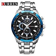 Luxury Black Full Steel Quartz Watch Men Casual Military Wristwatch Dress Waterproof Clock Male