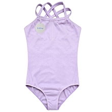 Children Kids Girls Double Strap Slim Solid Camisole Jumpsuit Romper Overall for Sports Ballet Gymnastics-Purple