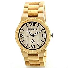 Men's Natural Woodenen Wristwatch Wooden Quartz Watch  + Box Beige-Beige