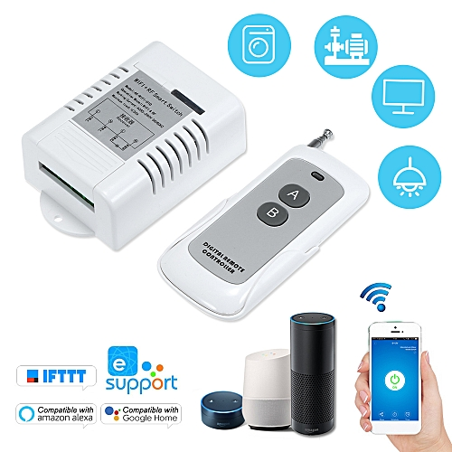 generic smart home 433mhz ac85v-260v 1ch wifi + rf smart switch garage door  opener wireless remote switch relay 30a receiver transmitter universal phone  app