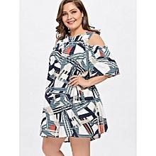 Plus Size Open Shoulder Tunic Dress (WHITE)