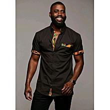 Trendy African Custom made Black ankara Shirt