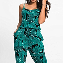 bluerdream-Women Leaves Jumpsuit Sleeveless Floral Printed Playsuit Party Trousers-Green L