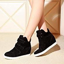 Women Shoes Autumn Winter Hidden Heel Flock Fashion Wedge Casual Shoes BK/35-Black 35