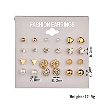 Fashion Earrings Ear Ring Set Combination Of 12 Sets Of Heart-shaped Earrings