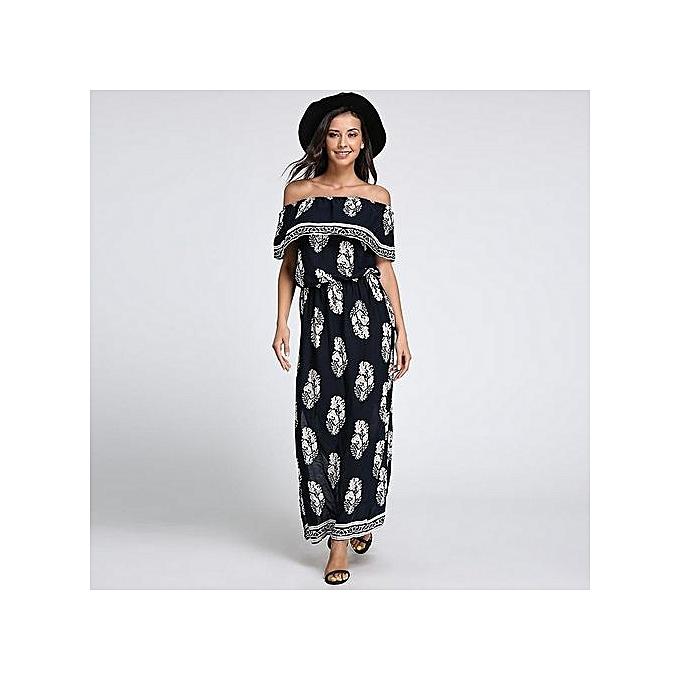 c3493ff3672e Celmia Womens Fashion Off Shoulder Short Sleeve Boho Print Elastic Waist  Side Split Summer Beach Long