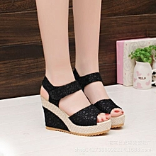 Women's Shoes Suitable & Comfortable Shiningstar.n Elegant Sandals Women Wedges Shoes Fashion Platform High Heels Sandals Women Open Toe Platform Wedges Straw Braid Velvet Sandals02-black