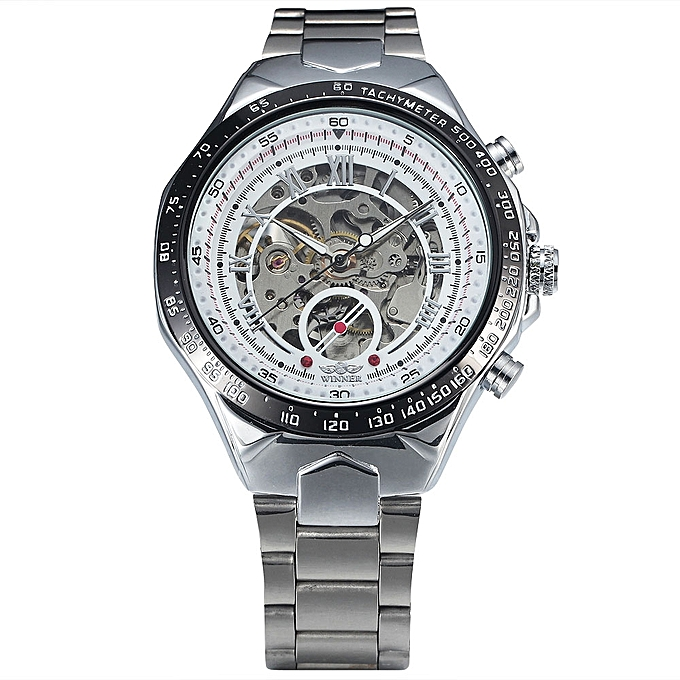 WINNER Stainless Steel Case And Leather Strap Men Male Fashion Business Sport Casual Skeleton Automatic Mechanical