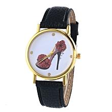 Leather Band Analog Quartz Vogue Wrist Watches BK