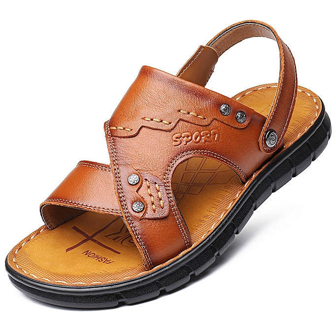 c56340996 Generic Men s Leather Comfort Slippers Open Toe Casual Sandals ...