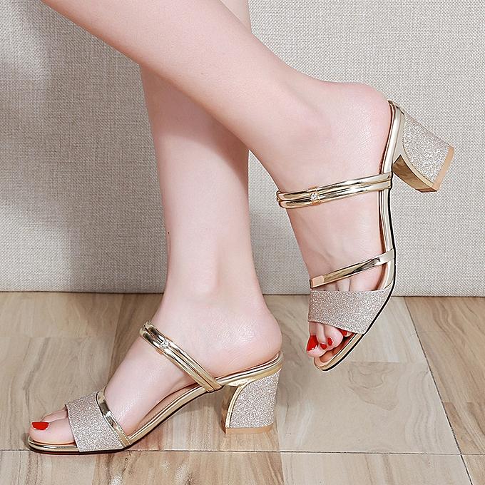34f907761 wenrenmok STORE Women Open-Toe Thick Heel Sandals Fashion Two Wear Wild  High-Heeled