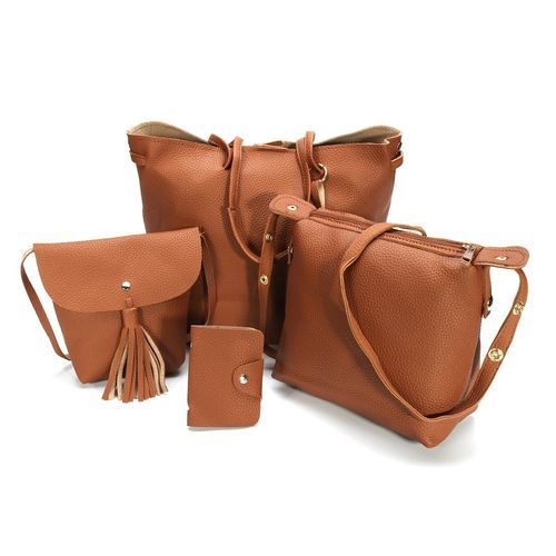 4pcs Women PU Leather Handbag Shoulder Bag Tote Purse Messenger Satchel Clutch Brown