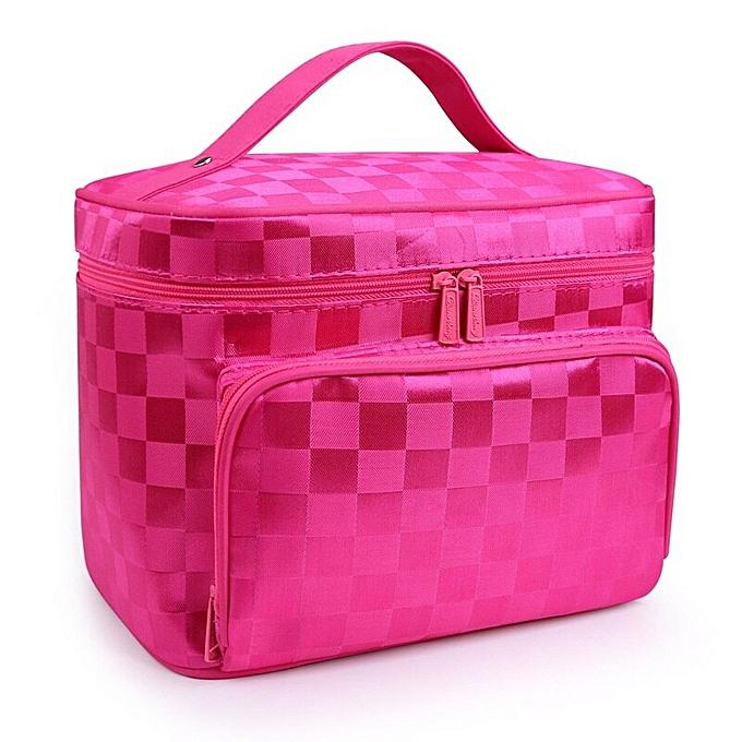 c434b5a2b94e Women Cosmetic Makeup Bag Folding Travel Makeup Organizer Bag Waterproof  Cosmetic Bag Makeup Brushes Case Wash Bags(Rose red lattice)