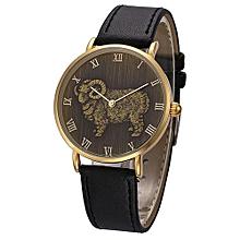 Fohting North Fashion Sheep Pattern Men Quartz Wrist Watch Leather Band Watch -