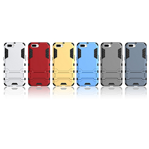 For OPPO R10 Silicon Frame Hard Plastic Shockproof Phone Case With Holder  -Red