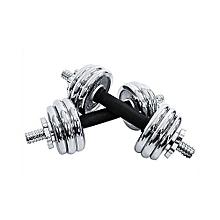 Silver 20kg Adjustable Chromed Cast Iron Dumbbell Weight Set