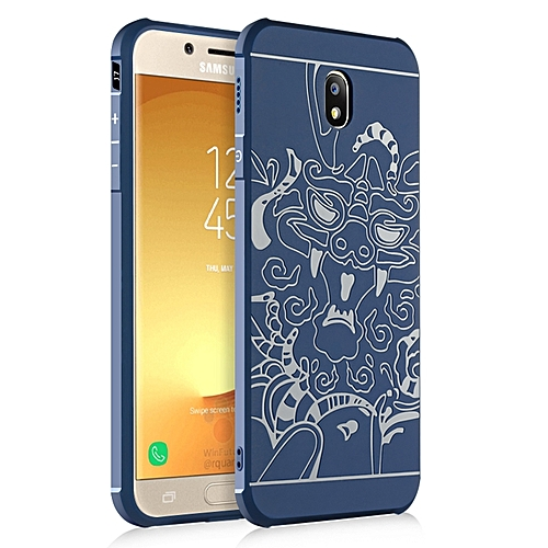 on sale 85a0c 2fd12 Samsung Galaxy J7 Pro 2017 Silicon Case 3d Carved Matte TPU Anti-knock  Phone Back Cover - Blue