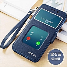 "For OPPO A57 A57T 5.2 ""inch Double View Window Flip Leather Cover Case Luxury Pu Leather Case Gift Lanyard(Dark Blue)"