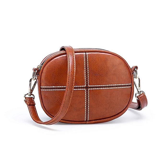 069d0d01c9a Vintage Round Crossbody Bag Clutch Women PU Leather Shoulder Bags Purse  Ladies Small Handbags Mini Tote Bag(Brown)