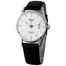 03b0af0c1 Luxury Black Leather Strap Calendar Quartz Mens Date Wrist Watch White