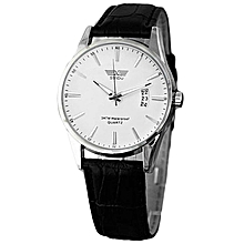 Luxury Black Leather Strap Calendar Quartz Mens Date Wrist Watch White