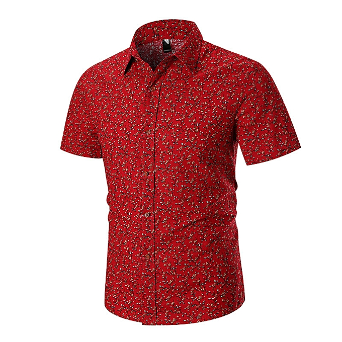 16e80358 Fashion New fashion trend casual twig print short sleeve shirt-Red ...