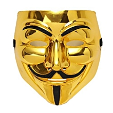 Gold V For Vendetta Guy Fawkes Mask Anonymous Halloween Cosplay Costumes