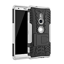 For Sony XZ2 Case, 3 in 1 Tyre Grain Cobwebs Shock-proof Throw-proof Housing With Foldable Stand Holder TPU + PC Back Cover Case for Sony Xperia XZ2