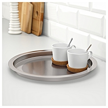 Round Serving Silver Tray - Stainless Steel