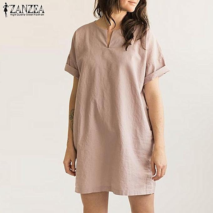 99a94a1e29a5 ZANZEA Plus Size Women s Short Sleeve Summer T-Shirt Dress Oversize Plain  Mini Dress