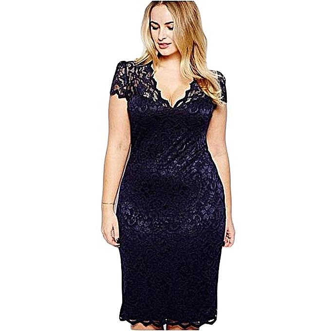 cf53dce39de0a Plus Size Women Lace Dress Midi Dresses Sexy Hollow Out V Neck Slim Fit -  Azul