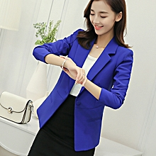 5fbc6ee2ef New slim short small suit ladies jacket female wild casual suit-blue