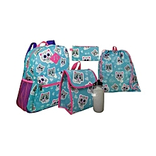 5 Piece Kids School Bag Set Medium (14 Inch Backpack,Lunch Bag,Pencil Case,Drawstring Bag,Water Bottle) - Sky Blue & Pink