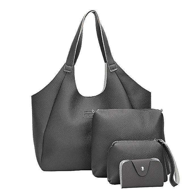 Hiamok_Women Four Set Handbag Shoulder Bags Four Pieces Tote Bag Crossbody Wallet