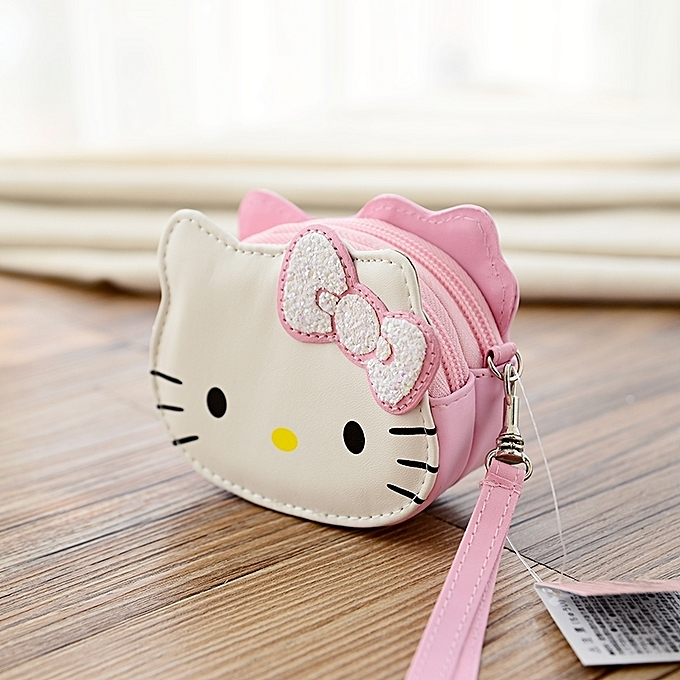 b50daaf8f38a  Double layer purse pink gold butterfly HelloKitty coin purse female Korean cute  mini coin
