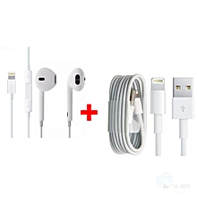 Earphones for iPhone - White,get one free android cable red