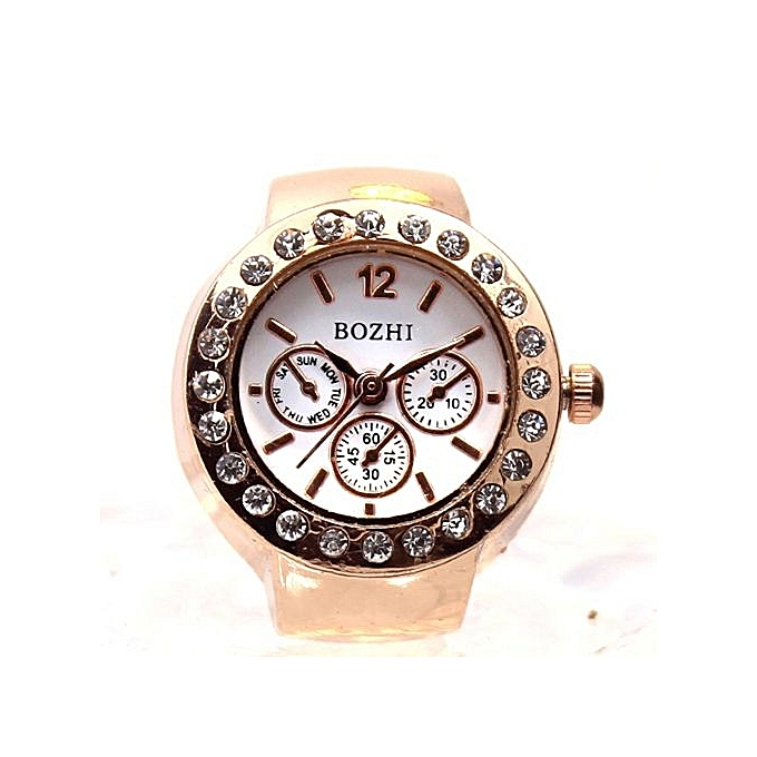 c4eda76643f Fohting Dial Quartz Analog Watch Creative Steel Cool Elastic Quartz Finger  Ring Watch A -Gold