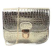 bluerdream-Women Fashion Crocodile Pattern Handbag Shoulder Bag Small Tote Ladies Purse-Gold