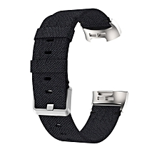 Woven Vanvas Nylon Wrist Strap Watch Band for Fitbit Charge 3 (Black)