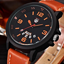 bluerdream-Fashion Men's Leather Band Watches Military Sport Analog Quartz Date Wrist Watch-Brown