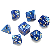 New 7 Piece Polyhedral Pearlescent Overcast Night Blue Dice Set W/ Gold Numbers